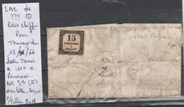 LAC DE ???? OBLITERE POUR TOURNY  DU 15/X/66 LETTRE TAXEE A 15 C A PERCEVOIR   Nr 3 B (II) SUR LETTRE   COTE   60 € - 1849-1876: Classic Period