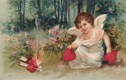 Angel Fire Fire With Shot Trough Hearts.Embossed Postcard. - Angeles