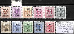 [849287]TB//**/Mnh-Belgique 1962-63 - PRE725/35, **/mnh Sauf 10c Orange */mh Très Propre - Typo Precancels 1951-80 (Figure On Lion)