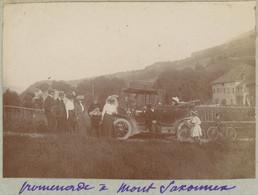 Promenade à Mont-Saxonnex (Haute-Savoie). Automobile Des Débuts. 1909. Album De L'historien Gérard De Beauregard. - Places