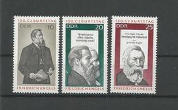 DDR 1970 F. Engels 150th Anniv. Y.T. 1313/1315 ** - [6] Democratic Republic
