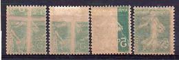 5c Semeuse N° 137l Neuf * - Variété 'Recto-Verso' - Lot De 4 Différents - Variétés: 1900-20 Neufs