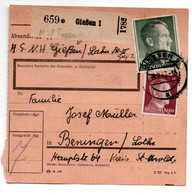 Allemagne  //  Colis Postal  //   De Giessen   // Pour Bening ( Benigen )/ 18-2-43 - Briefe U. Dokumente