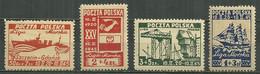 POLAND MNH ** 446A-D ANNIVERSAIRE DE LA LIGUE MARITIME. BATEAU. VOILIER. - Unused Stamps
