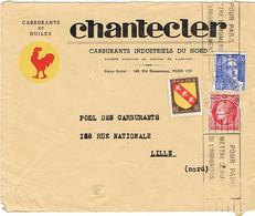 ENVELOPPE  A EN-TETE CHANTECLER CARBURANTS  HUILES COQ - 1921-1960: Modern Tijdperk