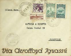 1934 Brasil / Brazil Aerolloyd 1.º Voo / First Flight Joinville - Curitiba - São Paulo (volta / Outbound) - Aéreo