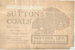 IRLANDA 1936 TELEGRAMA CON PUBLICIDAD CARBON COAL CAMION TRUCK ENERGIA MINERAL - Minerals