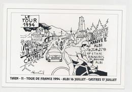 TOUR DE FRANCE 1994  ALBI 16 JUILLET - CASTRES 17 JUILLET DESSIN SERGE BOUBINET (500 EXEMPLAIRES) - Albi