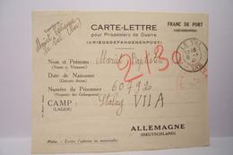 CARTE - LETTRE  -Pour Prisonniers De Guerre  - STALAG  ( 08/01/1941 ) - Weltkrieg 1939-45