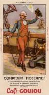 BUVARD COMPTOIRS MODERNES CAFE GOULOU LA MARINE A TRAVERS LES AGES N° 9 AMIRAL 1785 BON ETAT - Bank En Verzekering