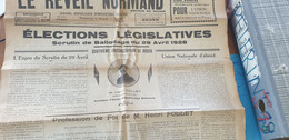 LE REVEIL NORMAND/ELECTIONS LEGISLATIVES ROUEN/HENRI FOLLET HUISSIER PAVILLY UNION REPUBLICAINE NATIONALE/ - Giornali