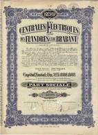 Titre Ancien - Centrales Electriques Des Flandres Et Du Brabant - Société Anonyme - Titre De 1933 - Electricity & Gas