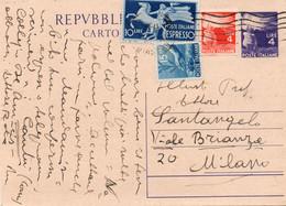 AFFRANCATURA - STORIA POSTALE REPUBBLICA SU CARTOLINA - 1 - 1946-60: Marcofilia