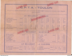 Au Plus Rapide Horaires Car CPTA Toulon La Cadière Sainte Anne D'Evenos Beausset Ollioules ... 1 Er Août 1947 - Europe