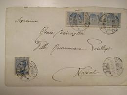 1923 Lettera Affrancata N.4 Pezzi MICHETTI Cent.25 Striscia Di 3 Dentellatura Spostata Timbro Arrivo - Marcofilía
