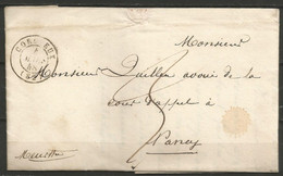 France - Précurseur - LAC Du 4/3/1848 De Corcieux (cachet CORCIEUX En Noir) Vers Nancy - 1801-1848: Precursori XIX