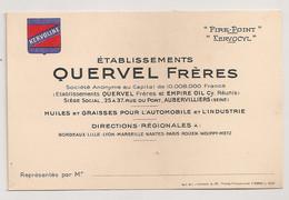 ETABLISSEMENT QUERVEL FRERES HUILES ET GRAISSES POUR L'AUTOMOBILE ET L'INDUSTRIE / KERVOLINE    C1266 - Visiting Cards