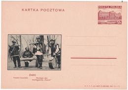 Entier Postal De Pologne (1937) Illustré Violon Psalterion Tambour, Groupe Musicien Montagnards Huculi - Música