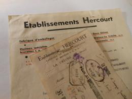 T556 / Facture + Traite Fabrique De Paniers ETABLISSEMENTS HERCOURT à LA CRECHE Deux-Sèvres HERMESSIN BRELOUX - Factures