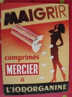 Maquette Unique De La Plaque Maigrir Comprimés Mercier à L'iodorganine. Cartonnage Bachollet & Gilbert Vers 1950 - Plaques En Carton