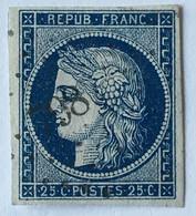 YT 4 (°) Oblitéré Cérès 1849-1850 IIème République 25c Bleu PC 798 Chatel-sur-Moselle (60+31 Euros) – 5bleu - 1849-1850 Ceres