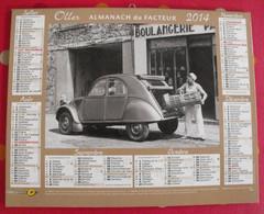 Almanach Des PTT. Oller. Calendrier Poste 2014. Citroën 2CV, Renault 4L - Calendari