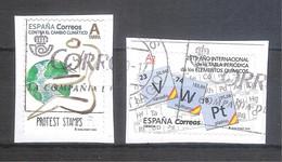 España 2020 - 2 Sellos Usados Y Circulados -Contra El Cambio Climatico Y Tabla Periódica-Espagne Spain Spanien - 1931-Tegenwoordig: 2de Rep. - ...Juan Carlos I