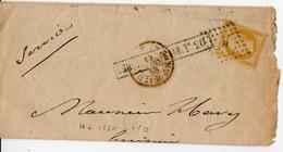 PARIS Bureau H. Losange H  Baton Grd Logement, Cachet 1520 1e Distribution Napoleon 10c N° 13A Citron, Mars 1858 - 1849-1876: Klassik