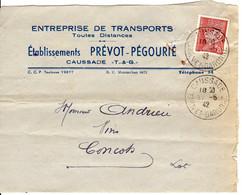 PETAIN 1f20 YT 515 SEUL Tarif Facture 1942 Cachet A4 CAUSSADE Tarn Et Garonne - 1921-1960: Modern Tijdperk