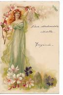 ART NOUVEAU Femme Fleurs 1903 Dos Non Divisé ...G - Women