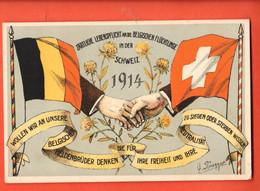ZBF-20 RARE Litho La Suisse Soutient Les Réfugiés Belges. Drapeaux Belge Et Suisse.. Non Circulé - Heimat