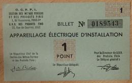 Billet Matière - Appareillage Electrique D'Installation OCRPI 1 Point 31 III 1945 - Buoni & Necessità