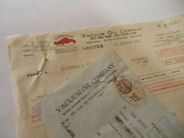 T558 / Facture + Traite VACUUM OIL COMPANY - NANTES - 46  Rue De Courcelles PARIS - 1931 - Factures