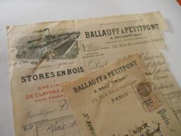T572 / Facture Et Traite BALLAUFF & PETITPONT 22 Rue Beautreillis PARIS - 1934 - Stores En Bois, Clayons Et Claies - Factures