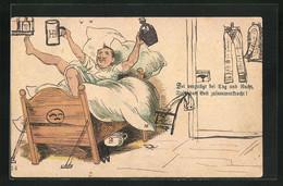 Vorläufer-Lithographie Sei Vergnügt Bei Tag Und Nacht, 1891, Bis Das Bett Zusammenkracht! - Humor