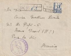 Espagne Lettre Recommandée Censurée Bilbao Pour La France 1937 - 1931-50 Cartas