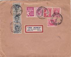 Timbres Pub Sur Lettre Du 05.11.1930 Vers Les Etats-Unis - Reclame
