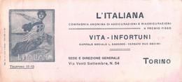 """02039 """"TORINO - L'ITALIANA - COMPAGNIA ANONIMA DI ASSICURAZ. VITA E INFORTUNI"""" CARTA ASSORBENTE - Ohne Zuordnung"""