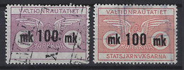 Finland Railway State Railways 2 Overprinted 100Mk Stamps Used. - Paketmarken