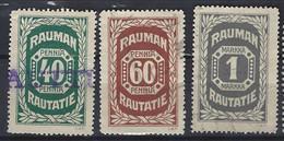 Finland Railway Rauman Complete Set Of 3 Stamps.No.4-6 Very Fine .Used. - Paketmarken