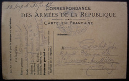 Bainville-sur-Madon Meurthe Et Moselle 1917 Dépôt D'éclopés, Cachet Sur Carte Des Armées De La République - Guerra De 1914-18
