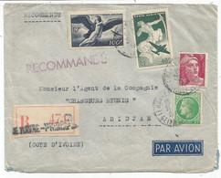 PA 100FR+40FR DENT COURTE + GANDON MAZELIN LETTRE REC AVION LA HAVRE 31.3.1949 POUR COTE D'IVOIRE AU TARIF - 1921-1960: Moderne