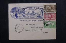 ALGÉRIE - Enveloppe Commerciale Illustrée De Tolga Pour La Suisse En 1937 - L 72248 - Storia Postale