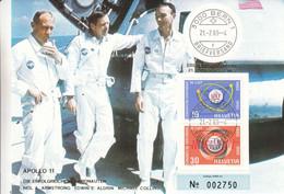 Espace - Suisse - Carte Postale De 1969 - Oblit Bern - Apollo 11 - Amstrong - Aldrin - Collins-premier Homme Sur La Lune - Storia Postale