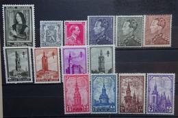 BELGIE 1939    Nr. 512 /  519 - 526 / 527 - 531   Spoor Van Scharnier *     CW 32,00 - Nuevos