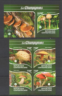 CA274 2015 CENTRAL AFRICA CENTRAFRICAINE NATURE FLORA MUSHROOMS LES CHAMPIGNONS KB+BL MNH - Funghi