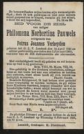 Souvenir Mortuaire PAUWELS Philomena (1845-1895) Echtg. VERHEYDEN, P. Geboren En Overleden Te ONZE-LIEVE-VROUW-LOMBEEK - Andachtsbilder