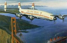 'Lockheed Starliner TWA Au-dessus Du Golden Gate  -  1957'  -  Artwork By Benjamin Freudenthal - CPM - 1946-....: Era Moderna
