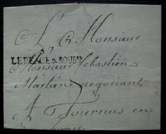 Le Péage-de-Roussillon Isère Marque 37/ LEPEAGE D-ROUSon, Sur Lettre Incomplète Pour Tournus - 1701-1800: Precursores XVIII