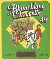 ETIQUETTES RHUM RUM RON LA REUNION BLANC CHARRETTE 49% 100 CL - Rhum